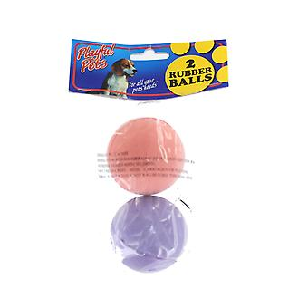 Playful Pets Coloured Rubber Dog Ball Toys Pack of 2 6cm