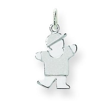 14k White Gold Solid Double layered Polished and satin Mini Children Boy Charm - .8 Grams