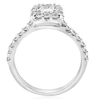Princess Cut Diamond 1 1 / 10ct Halo Accent Ring 14K witgoud