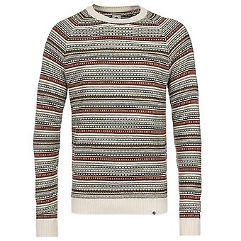 Pretty Green Striped Crew Neck Stone Knitted Jumper