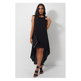 The Fashion Bible Mia Black Dipped Hem Maxi Dress