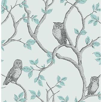 Fine Decor Woodland Trees Owls Aqua Blue Silver Teal Grey Luxury Wallpaper