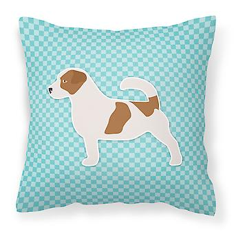 Jack Russell Terrier  Checkerboard Blue Fabric Decorative Pillow