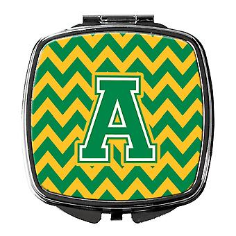 Carolines Treasures  CJ1059-ASCM Letter A Chevron Green and Gold Compact Mirror