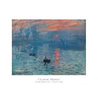 Impression Sunrise (Blue) Poster Print by Claude Monet (32 x 24)