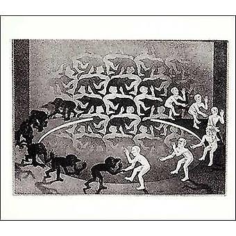 Encounter - MC Escher Poster Poster Print