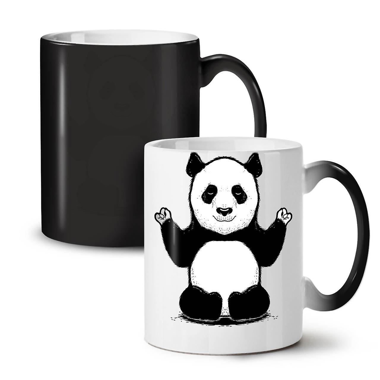 Nouveau Noire Thé Tasse 11 Café OzWellcoda Couleur Mignon Panda Céramique Changeant XZuPki