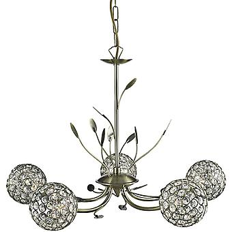 Bellis Ii Black Antique Brass And Glass Five Light Pendant - Searchlight 5575-5ab