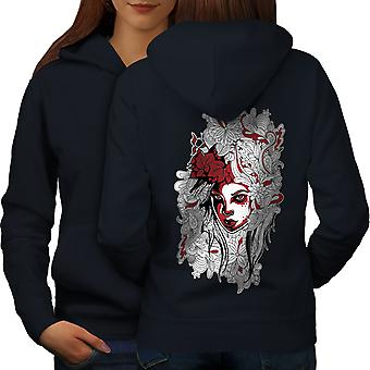 Woman Art Girl Fashion Women NavyHoodie Back | Wellcoda