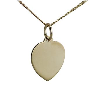 18ct Gold 14x14mm plain heart Disc with a curb Chain 16 inches Only Suitable for Children