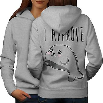 Seal of Approval Women GreyHoodie Back | Wellcoda