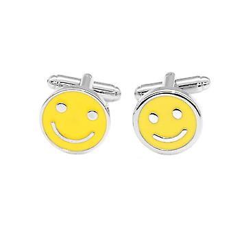 Silver-Tone Men's Cuff Links Happy Smiley Face Mens Cufflinks