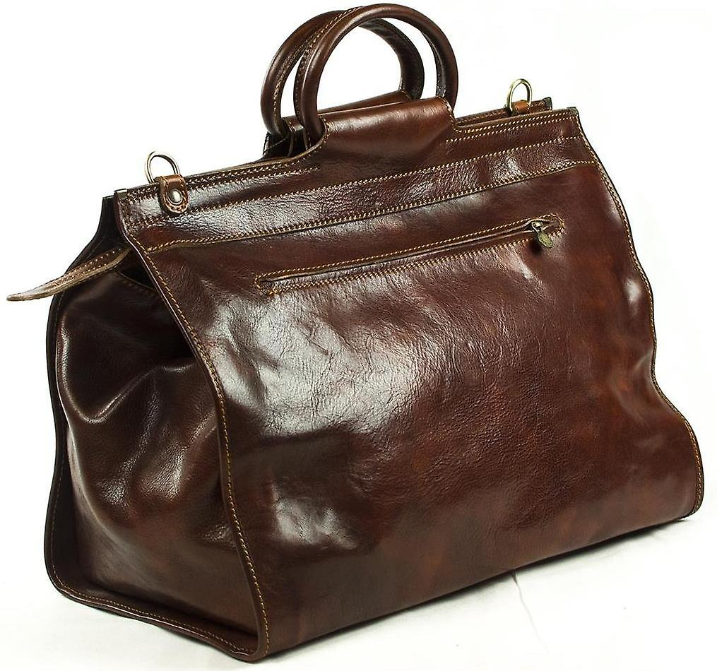 Genuine Italian Leather Travel Bag Weekend Valise Duffel Overnight Brown Unisex