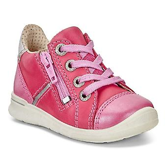 Ecco First Beetroot Girls Pink Leather Shoes With Flexible Sole