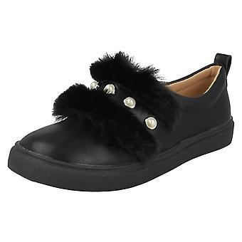Meisjes plek op parel riem bont Trim schoenen H2456