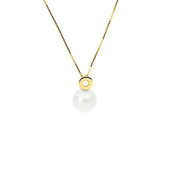 375/1000 yellow gold necklace and Pearl of white Culture
