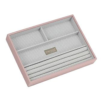 Soft Pink & Grey Spot Classic 4 Section Jewellery Tray