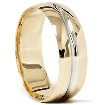 Mens 14k Gold Two Tone Brushed Wedding Ring Band New