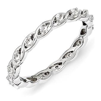 2.5mm Sterling Silver Polished Prong set Rhodium-plated Stackable Expressions White Topaz Ring - Ring Size: 5 to 10