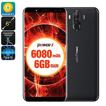 Ulefone Power 3 Android Phone - 6GB RAM, 8 Core CPU, 6 Inch Display, 6080mAh Battery, Android 7 (Black)