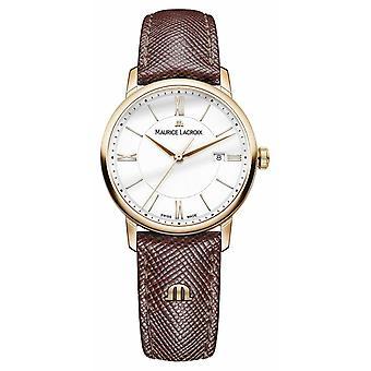 Maurice Lacroix Eliros Womens weiß Zifferblatt braun Leder Armband EL1094-PVP01-111-1 Uhr