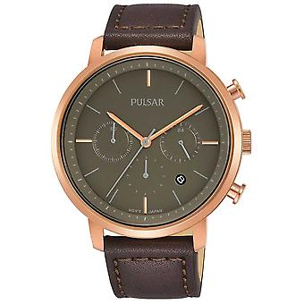 Pulsar hommes Rose or plaqué affaire cuir marron bracelet PT3940X1 Watch