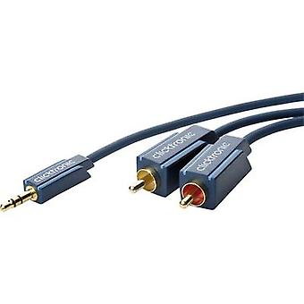 clicktronic Jack / RCA Audio/phono Cable [1x Jack plug 3.5 mm - 2x RCA plug (phono)] 3 m Blue gold plated connectors