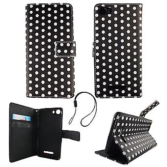 Mobile phone case pouch for mobile WIKO Lenny 2 polka dot black white