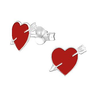 Heart - 925 Sterling Silver Colourful Ear Studs - W31978X