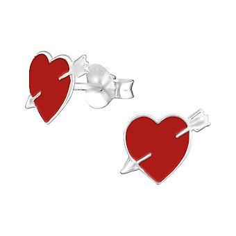 Hjerte - 925 Sterling sølv fargerike øredobber