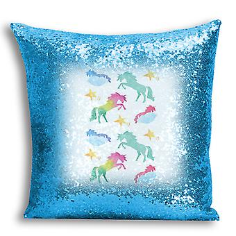 i-Tronixs - Unicorn Printed Design Blue Sequin Cushion / Pillow Cover with Inserted Pillow for Home Decor - 7