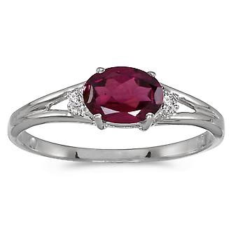 Grenat de Rhodolite ovale 14 k or blanc et diamants bague