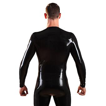 Honour Men's T-Shirt Latex Rubber Top Black with Round Neck Longsleeved