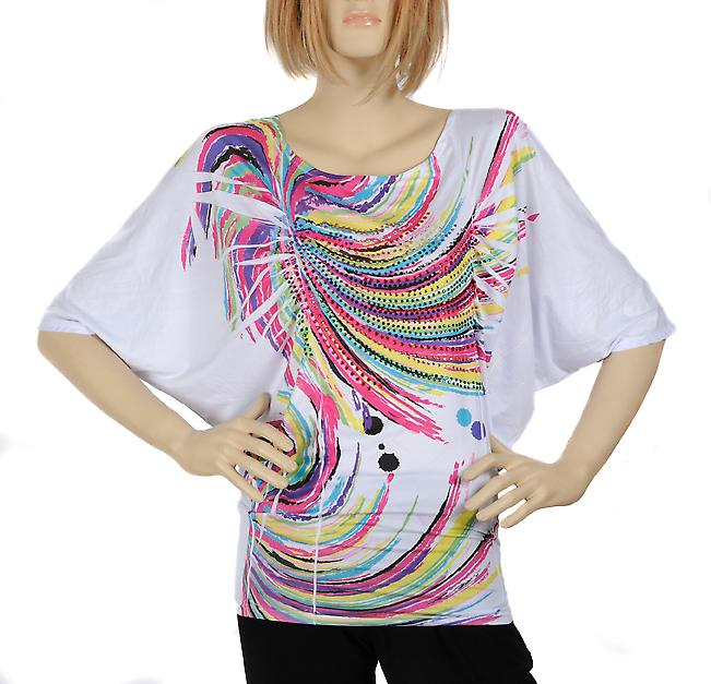 Waooh - Fashion - White tunic with Rainbow colorful design and rhinestones