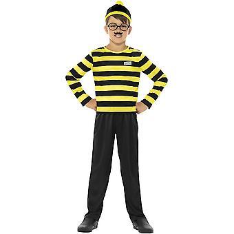 Hvor er Wally Odlaw Costume, svart & gul med toppen, bukse, lue, Bart & briller