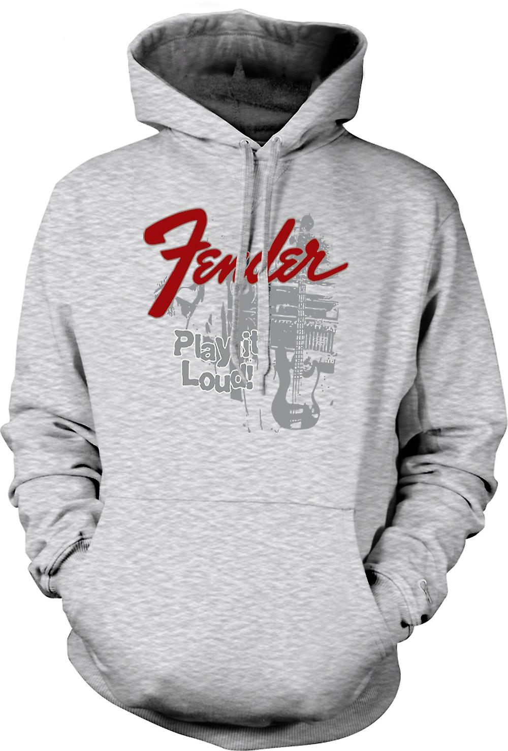 Mens Hoodie - Fender Strat Play Loud - Guitar