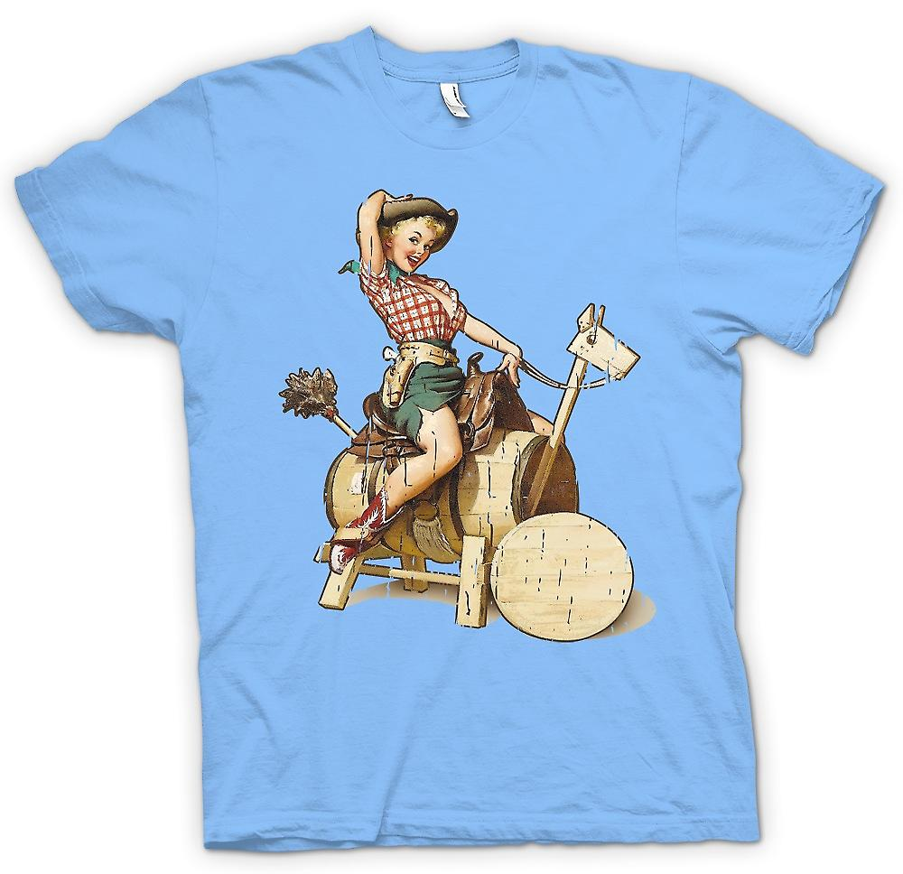 Mens t-skjorte - Vintage Cow Girl Pin Up - Retro