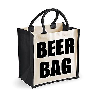 Medium Black Jute Bag Beer Bag