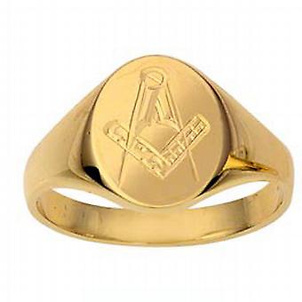 9ct Gold 14x11mm gents Masonic engraved oval Signet Ring Size R