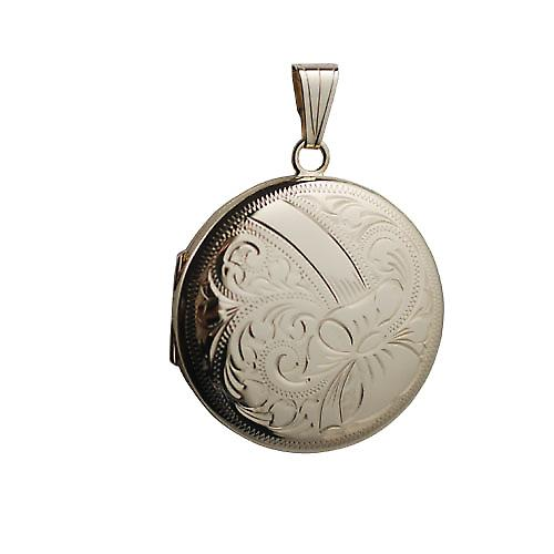 9ct Gold 29mm hand engraved round Locket