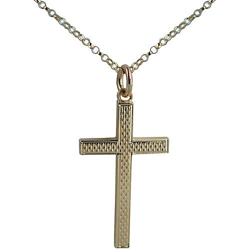 9ct Gold 30x18mm engine turned barley infill solid block Cross with belcher Chain 16 inches Only Suitable for Children