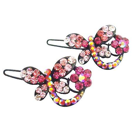 Stylish Cute Butterfly Hair Clip In Fuchsia Rose & Clear Crystals