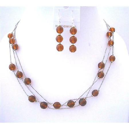 Brown Faceted 3 Strands Necklace Set w/ Genuine Sterling Silver Earrings & Beads Jewelry Set