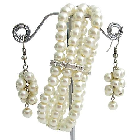 Ivory Pearls Rhinestone Stretchable  Bracelet 3 Strand Dangling Earrings Jewelry Gift