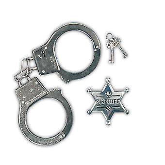 Police set children 2 parts handcuffs and police star accessory Carnival