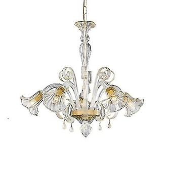 Ideal Lux - Ca' D'Oro Amber Glass Five Light Chandelier IDL020969