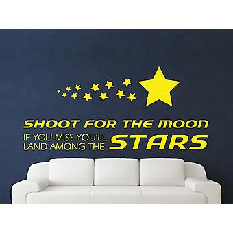 Shoot For The Moon Wall Art Sticker - Bright Yellow