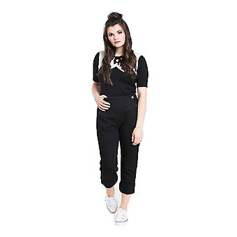Hell Bunny Black Charlie Denim Capris Trousers S