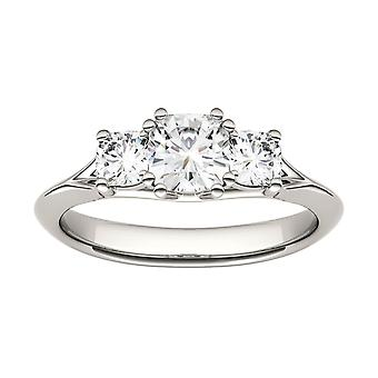 14K White Gold Moissanite by Charles & Colvard 5mm Cushion Engagement Ring, 1.04cttw DEW