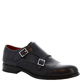 Leonardo Shoes men's handmade double monk shoes in delave blue calf leather